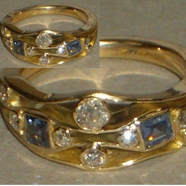 Diamond, sapphire gold ring