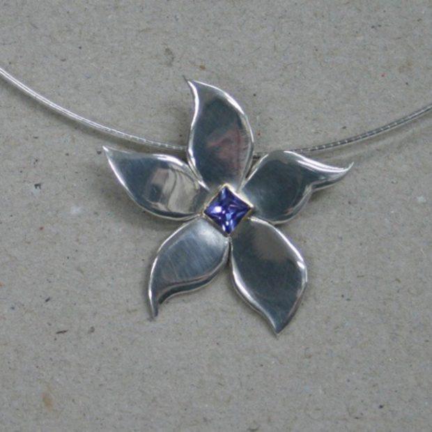Sapphire silver pendant