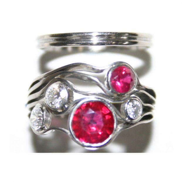 Diamond, ruby platinum ring