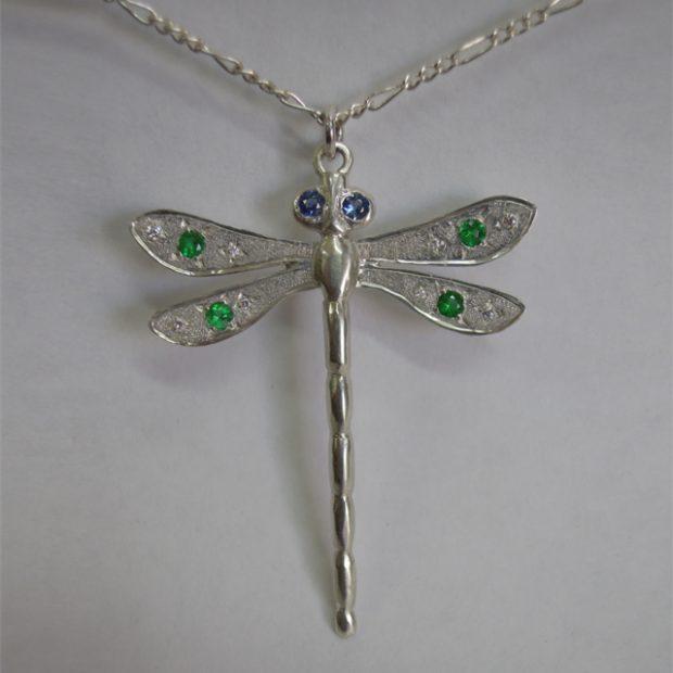 Sapphire, emerald silver pendant