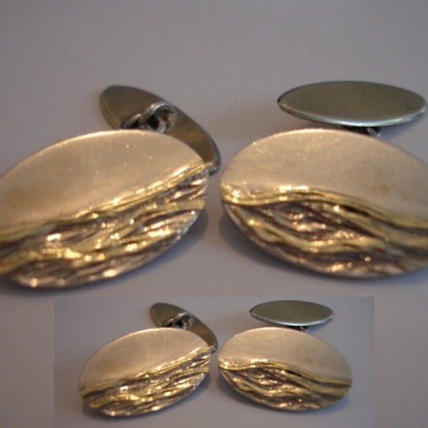 Gold, silver wave cufflinks